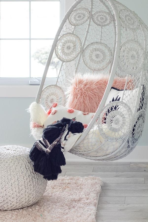 Hanging chair tween girl boho bedroom decor