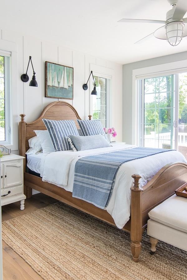 Braided Jute rug lake house master bedroom