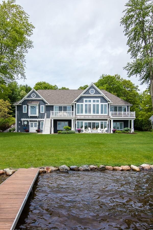 dark gray and white lake house exterior
