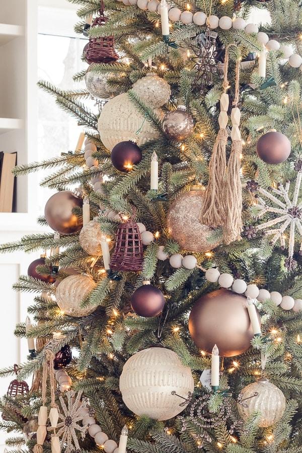 wicker bell, wood beads metallic Christmas ornaments