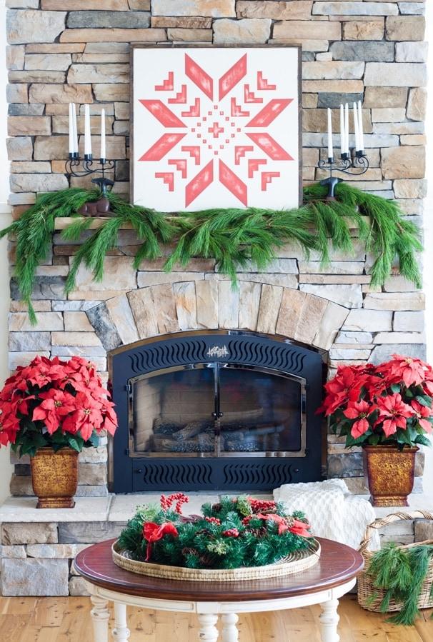 quilt block Christmas Mantel