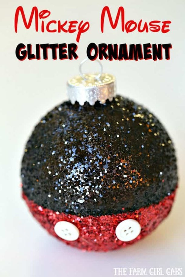This Magical Mickey Mouse Glitter Ornament is the perfect DIY project for your Disney-inspired Christmas tree. #Disney #ChristmasOrnament #Craft #WaltDisneyWorld #DisneyCraft