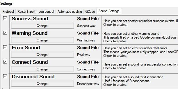 settings sound