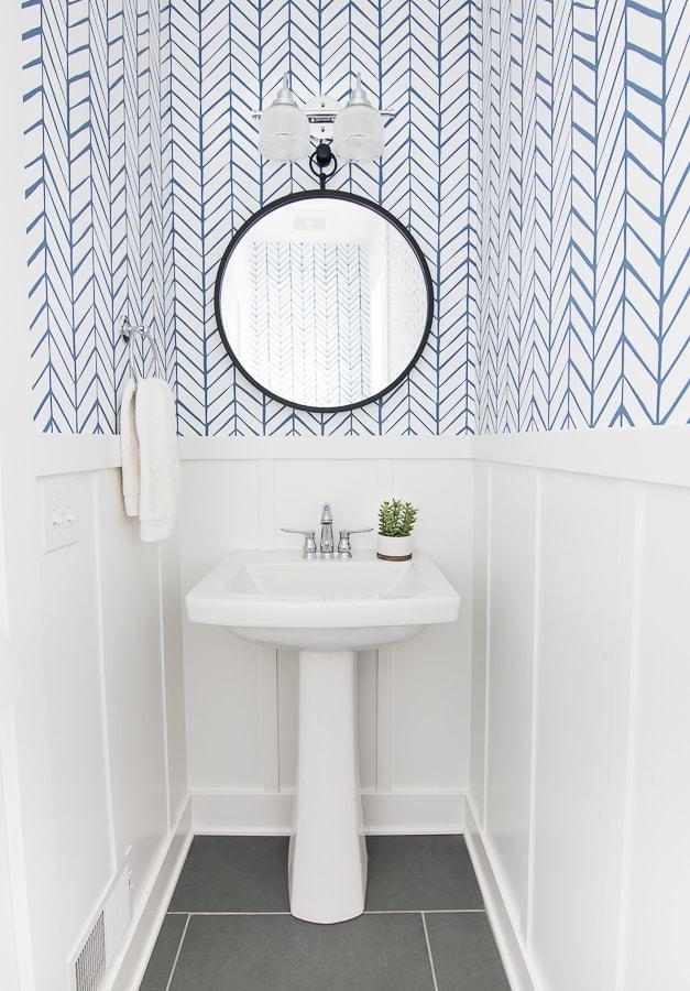 Lake house powder room serena and lily wallpaper