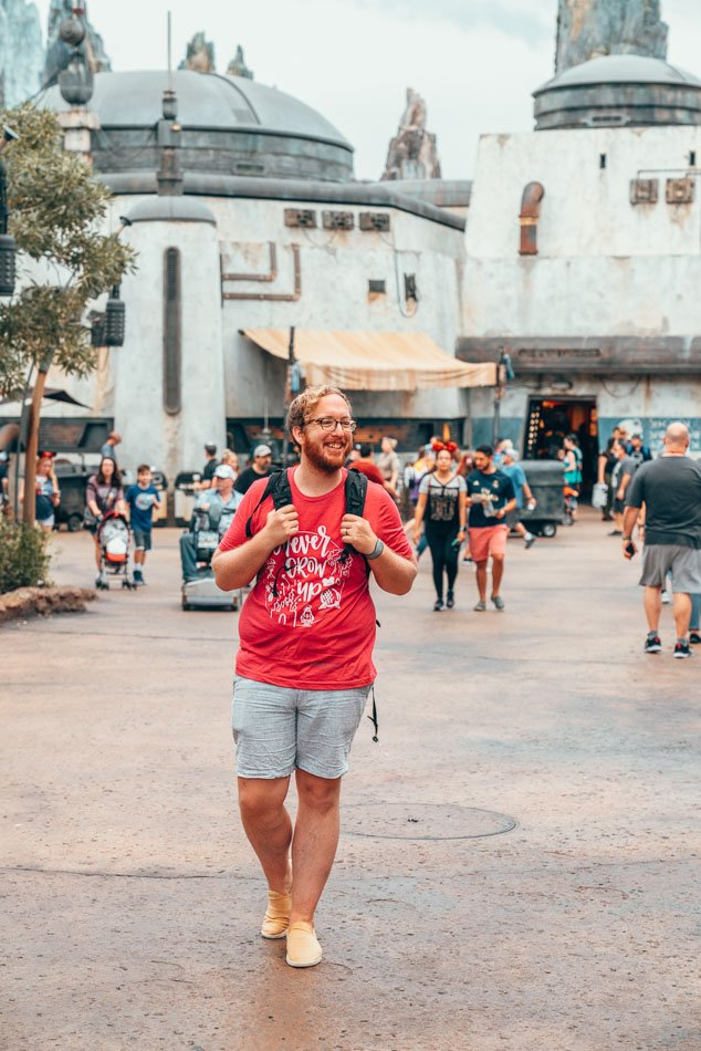 Jeremy in a Disney shirt in Galaxy's Edge, Disney World, Florida.