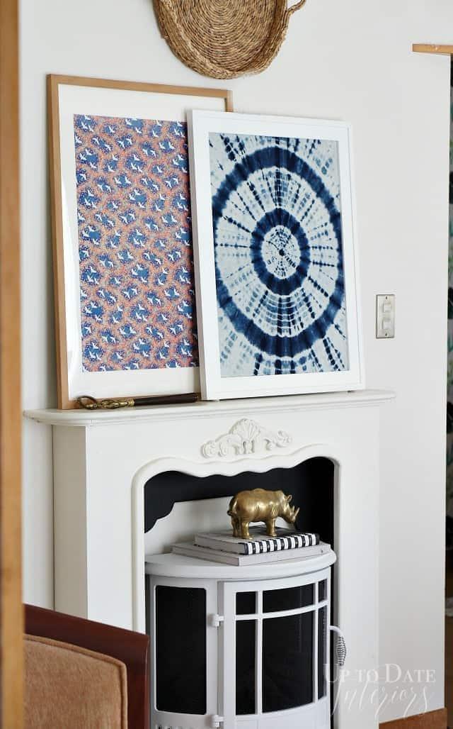 shibori frabric and washi paper print framed for large art
