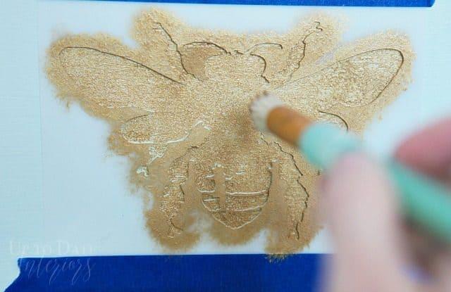 Stencil Bee Gold Paint On Mint Dresser