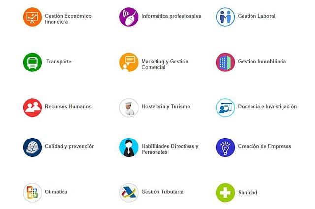 Categorías de los cursos online en CEAT