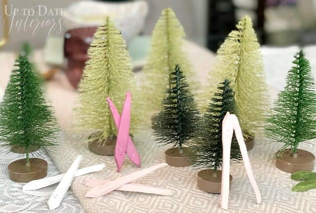 Minature Clay Snow Skis Winter Table
