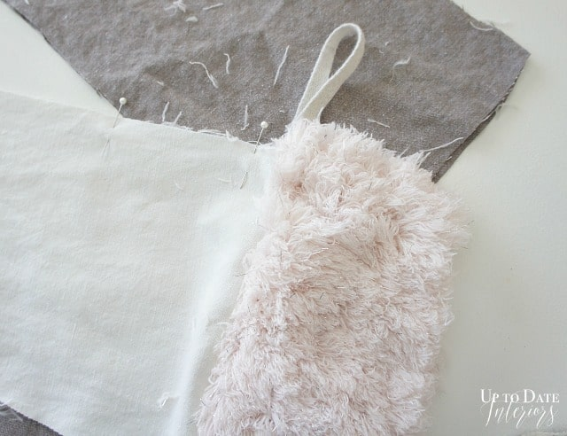 linen and fur christmas stockings with loop ready to sew