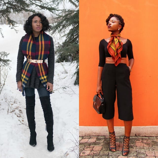 Blogger collaboration styling a loose knit fringe scarf