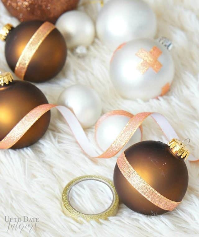 Repurpose old ornaments with ribbon tape for a chic Christmas DIY