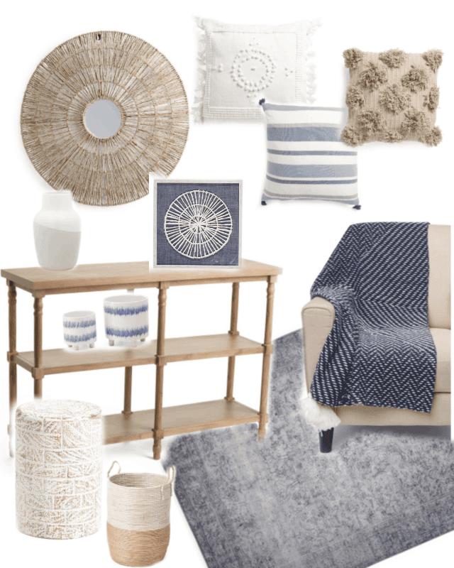 blue white budget friendly decor collage