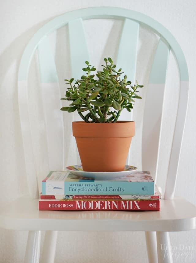 display a stack of books on a chair with a plant