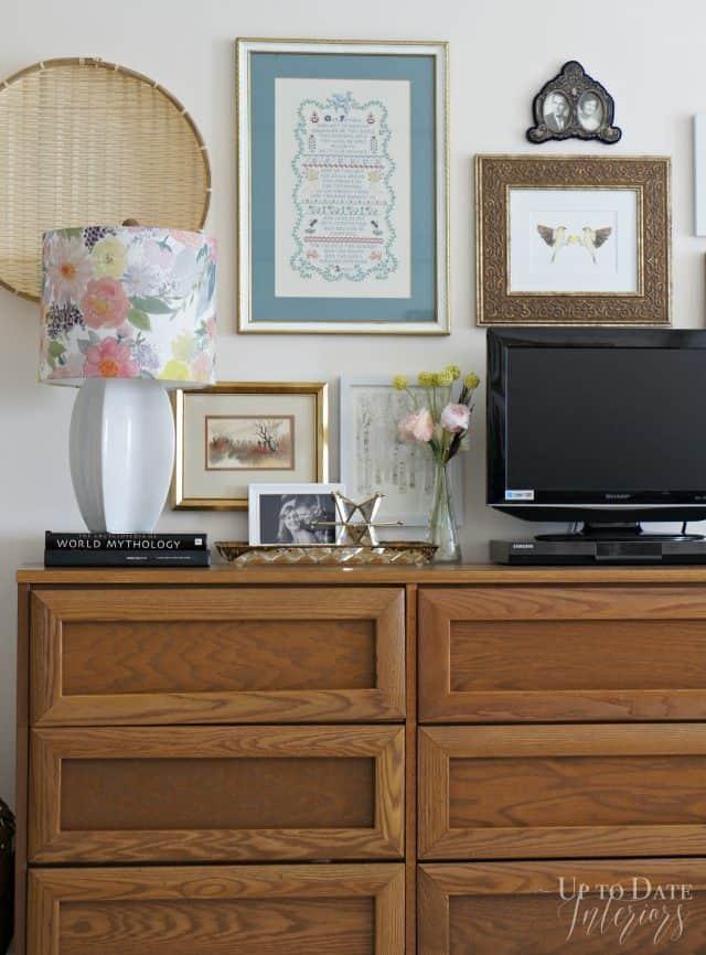 dresser wall art around tv