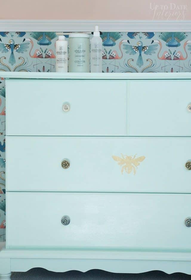 Mint Green Dresser With Gold