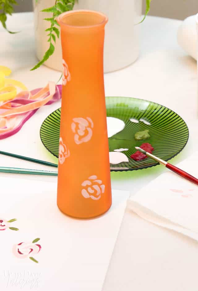 Hand Painted Floral Dollar Store Vase 4