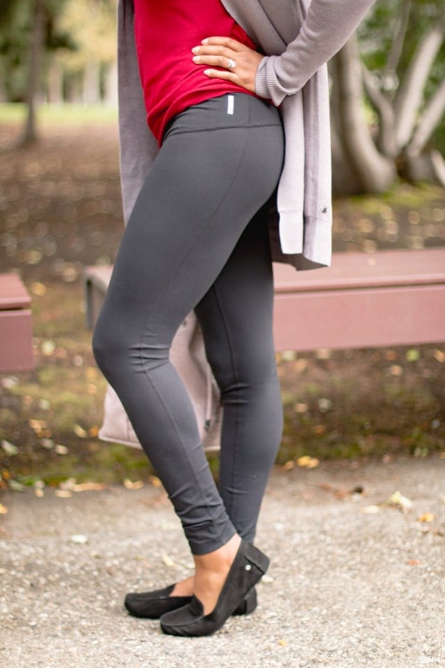 If you're looking for a no-show, thick, medium compression leggings, I highly recommend this Zella high waist leggings. This stretchy and figure-sculpting leggings is made of sweat-wicking fabric that keeps me cool and comfortable all day.