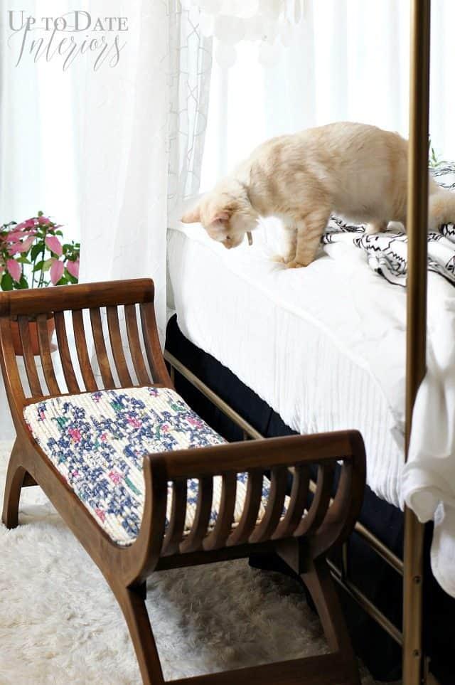 bedroom teak bench