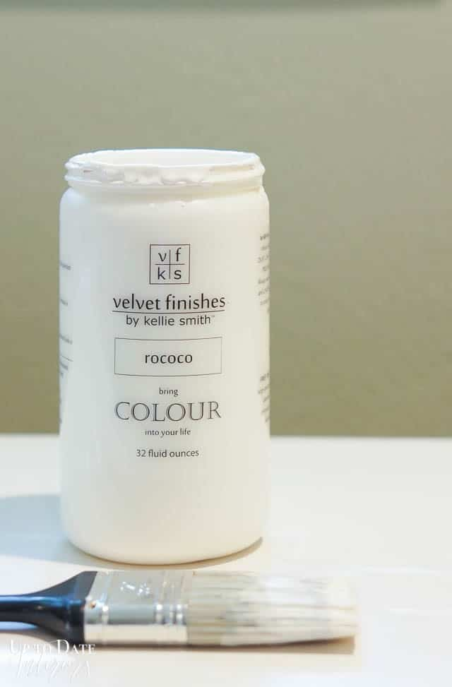 the best paint for furniture without sanding picture of paint jar on a counter with paint brush