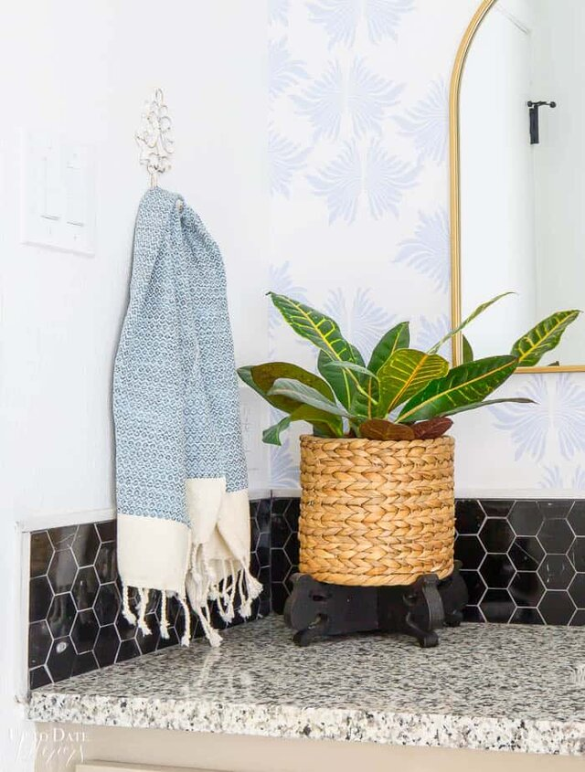 Bathroom Plant on granite counter with black marble backsplash, turkish hand towel, and blue and white wallpaper.
