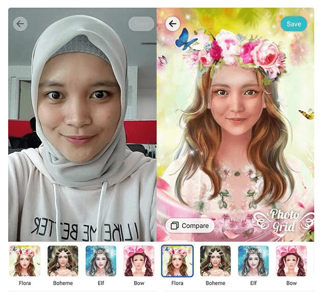 photo grid Aplikasi Edit Foto Jadi Kartun meitu 2019 terbaik