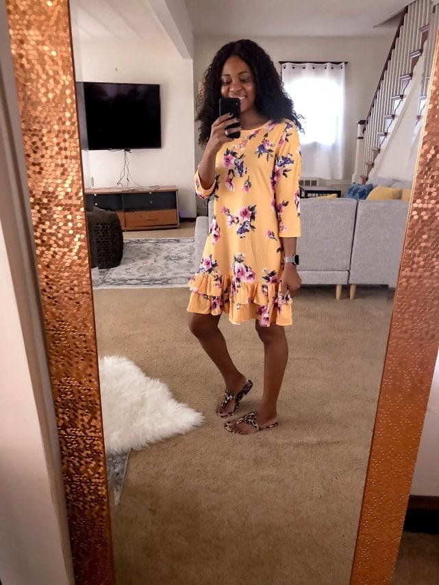 Amazon Haul Ruffled Hem A-Line Tunic Dress