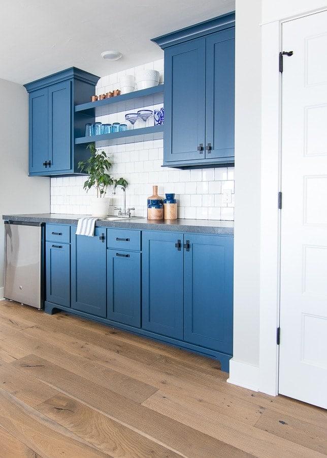 blue wet bar basement cabinets