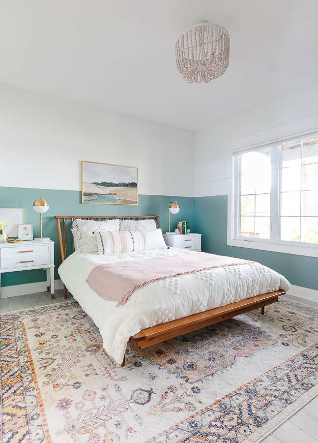 color blocked walls, white washed floors, pinks and greens