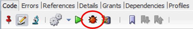 Oracle SQL Developer - Debug Icon