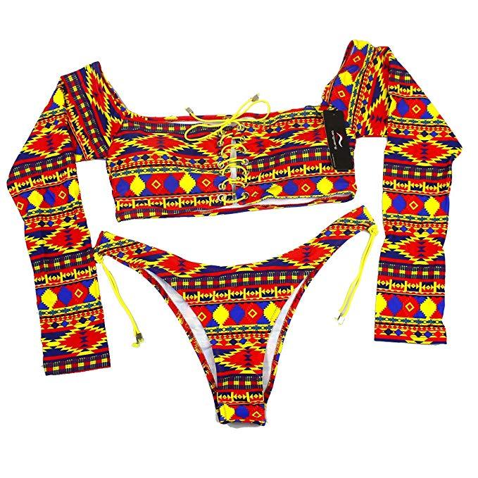 tengweng Women's African Print High Waist Bikini Set Lace up Swimsuit Long Sleeve Swimwear
