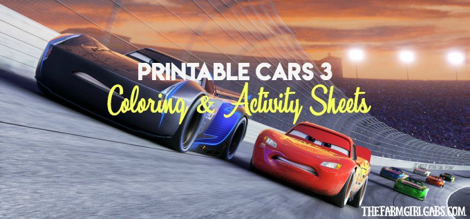 Cars 3 Coloring And Activity Sheets