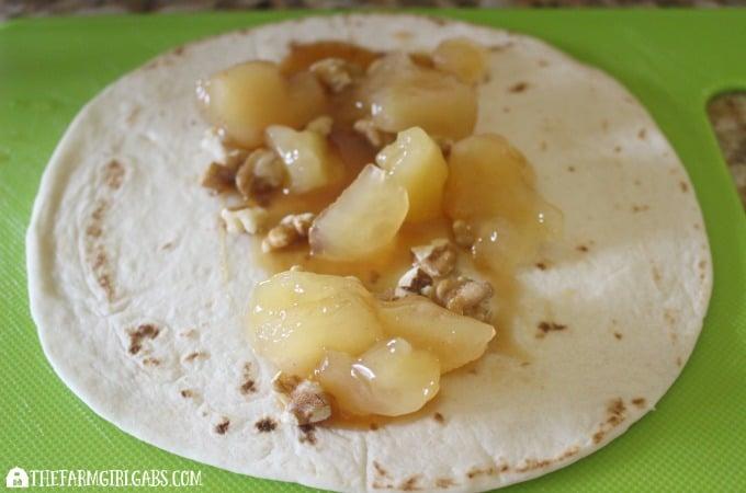 Caramel Apple Walnut Roll-Ups Step 2