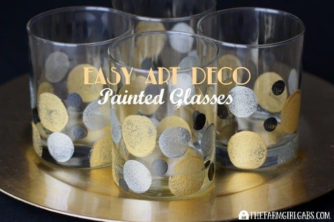 Easy Art Deco Painted Glasses To Celebrate Awards Season