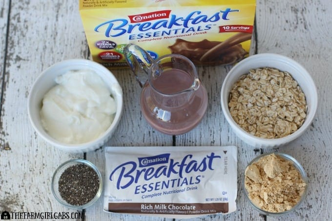 Chocolate Peanut Butter Overnight Oats - Ingredients