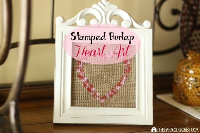 Stamped Burlap Heart Art