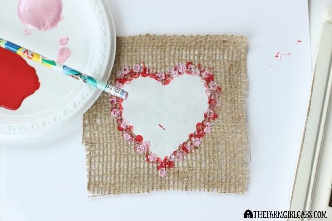 Stamped Burlap Heart Art - Step 1
