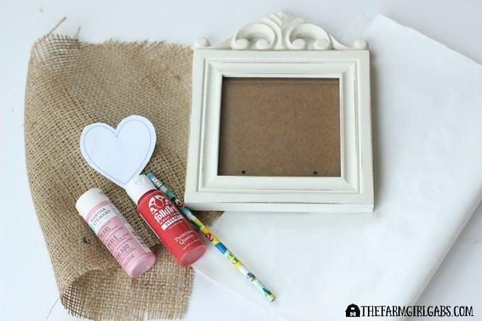 Stamped Burlap Heart Art - Supplies