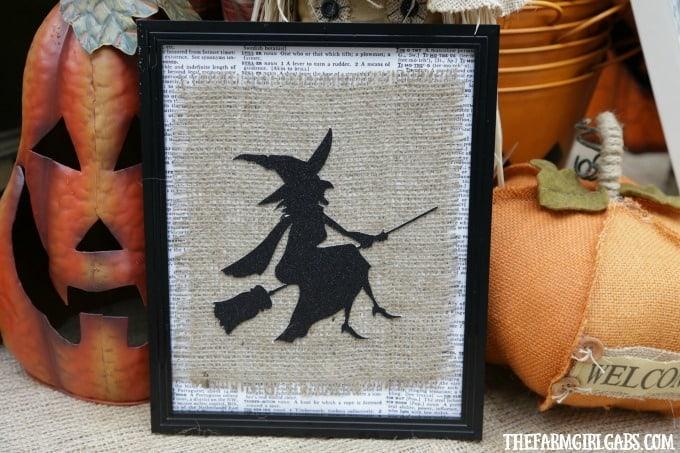 Framed Burlap Witch Art