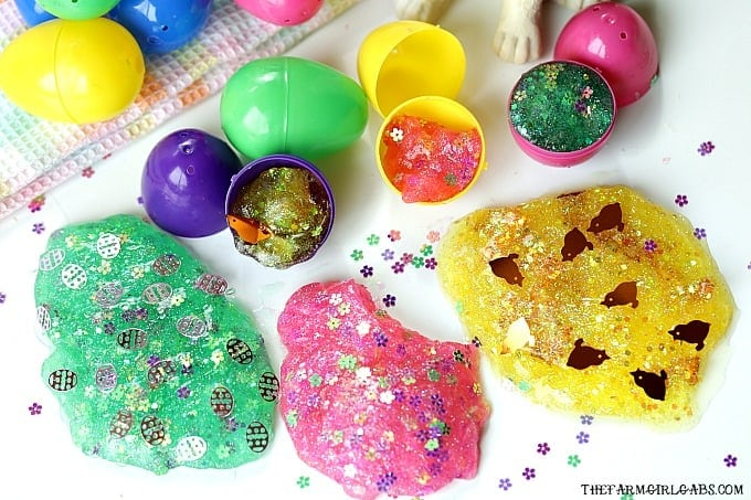 Hippity Hoppity, the kids will go crazy for these fun Easter Egg Glitter Slime Party Favors! Make a batch of this slime for your Easter Celebration.