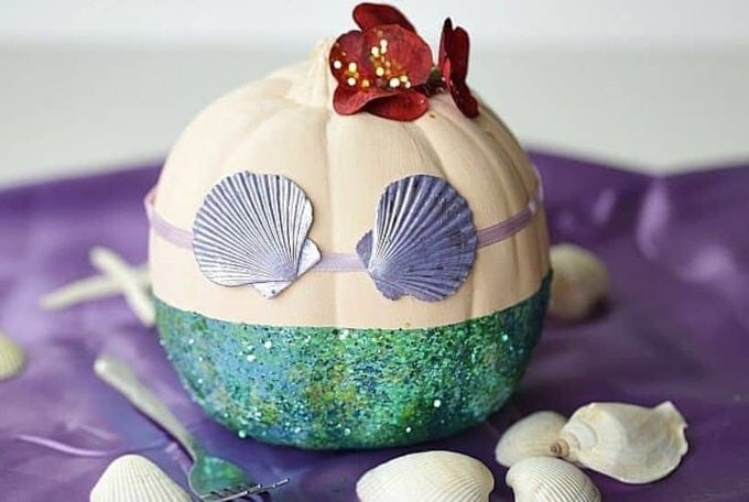 No-Carve Disney Little Mermaid Pumpkin