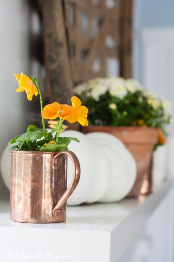 Fall Home decor copper accents