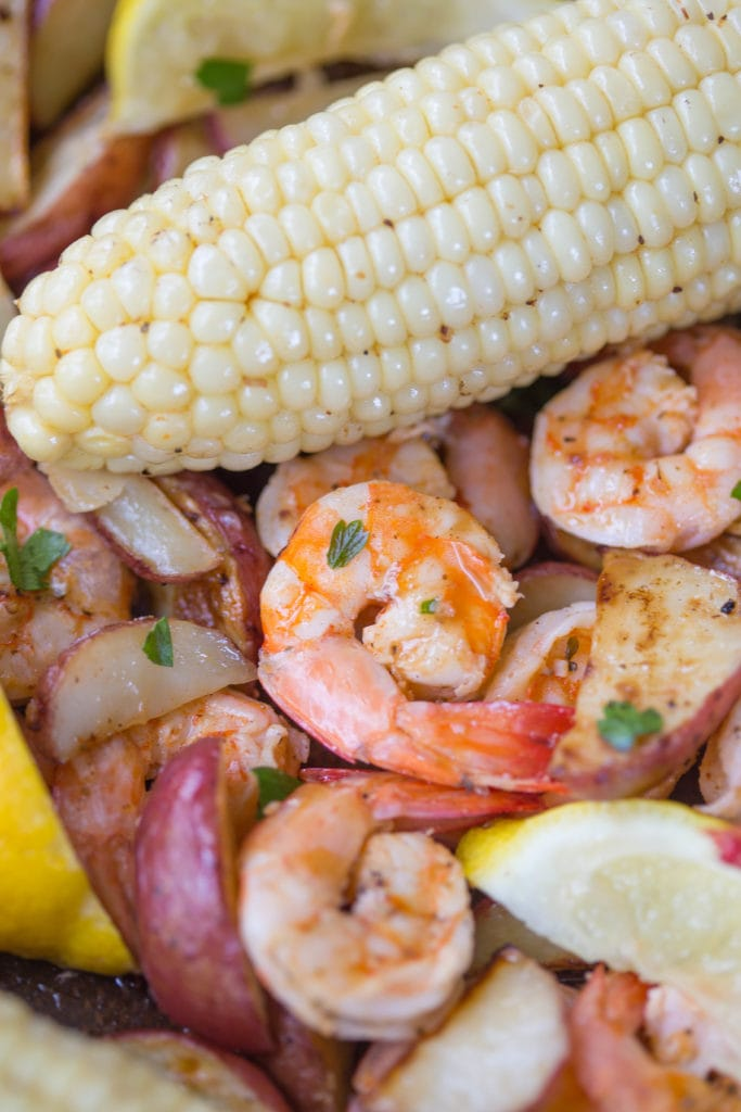 Very close up picture of Lowcountry shrimp boil