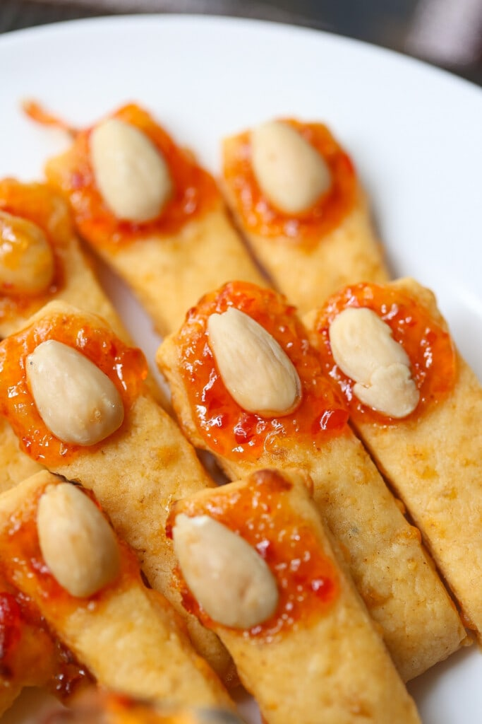 witch fingers cheese straws for halloween
