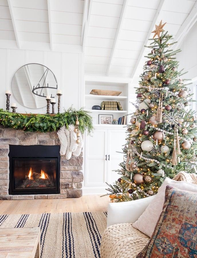 Bronze and Neutral Metallic Christmas tree decor white walls lake house