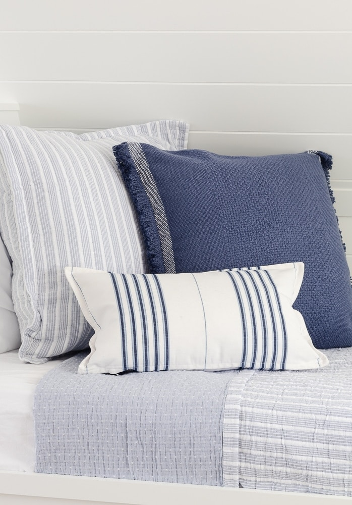 blue and white lake house bunk room bedding