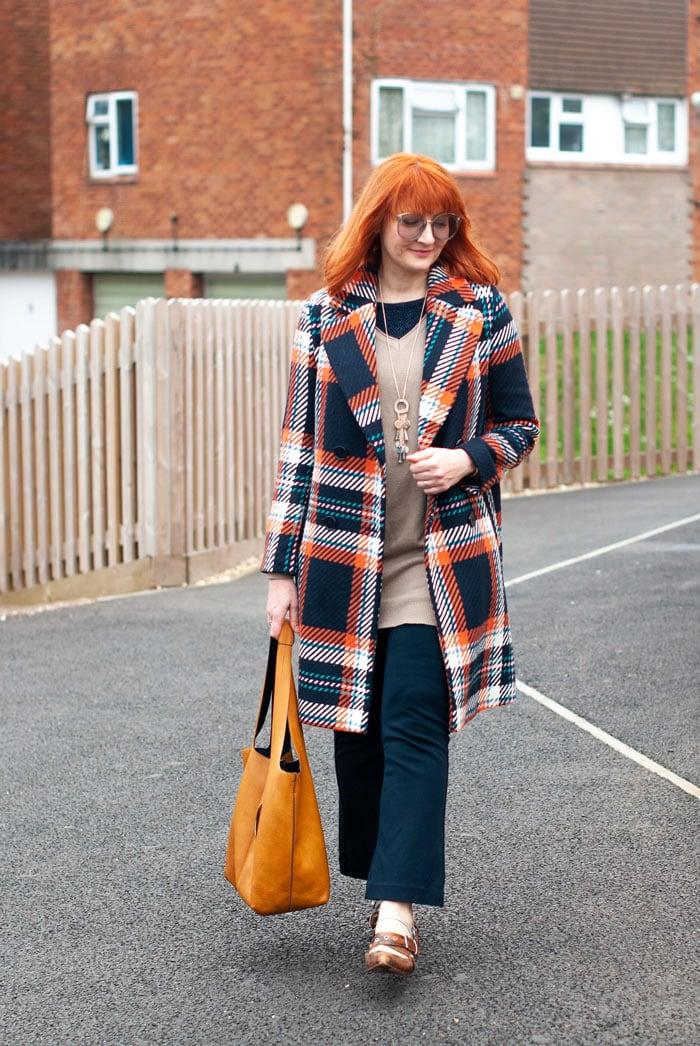 Catherine wearing plaid coat   40plusstyle.com