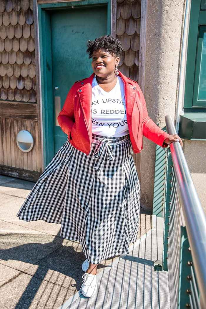 Georgette from Grown and Curvy Women is wearing White Tops over Red Leather Jacket and Checkered Skirt   fashion over 40   40plusstyle