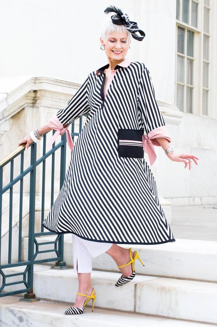 Judith in striped dress | 40plusstyle.com