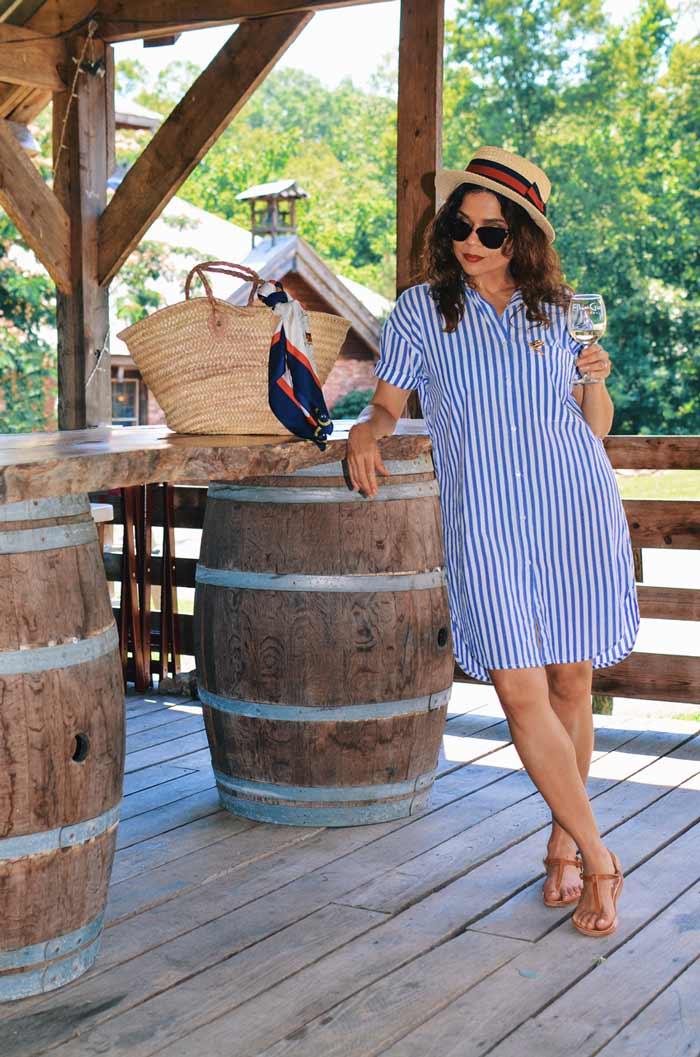 Carelia wearing striped shirtdress   40plusstyle.com